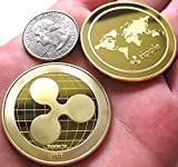 Golden Plated Ripple Coin-XRP Physical Metal Guritta Token ICO Digital Blockchain Crypto Currency You Hold For Commemorative Collection In Plastic Holder Cases|Great Funny Gift For Boy/Girl/Woman/Man