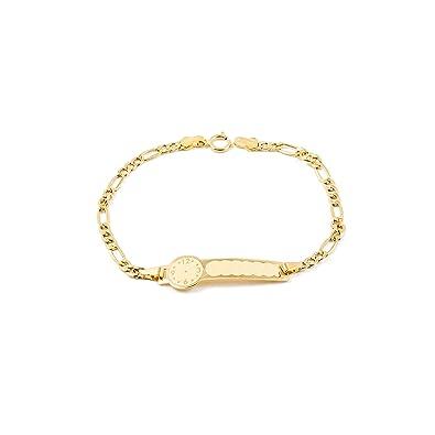 e88948e323b3 Pulsera Bebe oro Amarillo chapa reloj  Amazon.es  Joyería