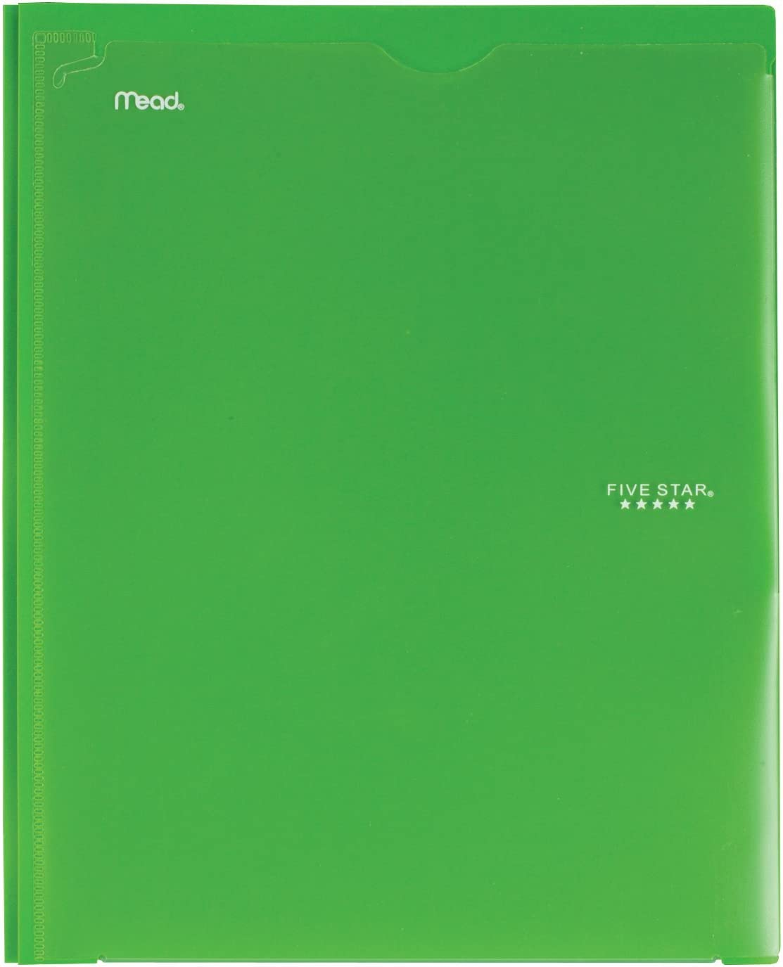 34136 Color Selected for You Plastic Folder with Pockets Customizable Cover Five Star 2 Pocket Folder with Prong Fasteners