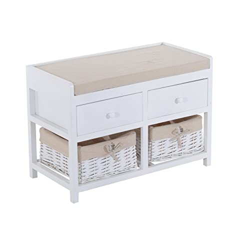 Admirable Homcom Wooden Unit Storage Bench Wood Seat Seater Woven Wicker Baskets Drawers Hallway Porch White W Cushion Removable Linings 2 Drawers 2 Onthecornerstone Fun Painted Chair Ideas Images Onthecornerstoneorg