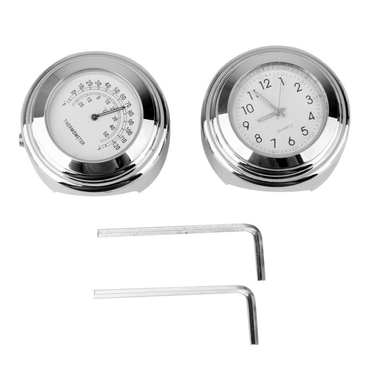 WINOMO 2 Piezas Reloj y Termómetro para Manillar de Moto 7/8 Pulgada 1 Pulgada