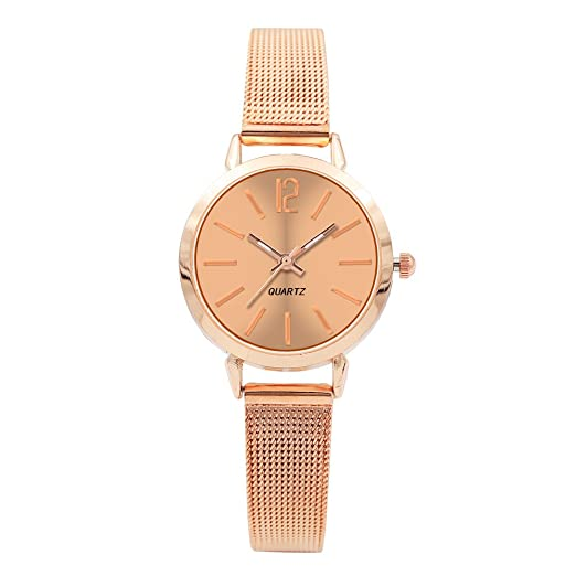 Kinlene Relojes para mujer Rose Golden Fashion Classic De cuarzo reloj de pulsera de acero inoxidable