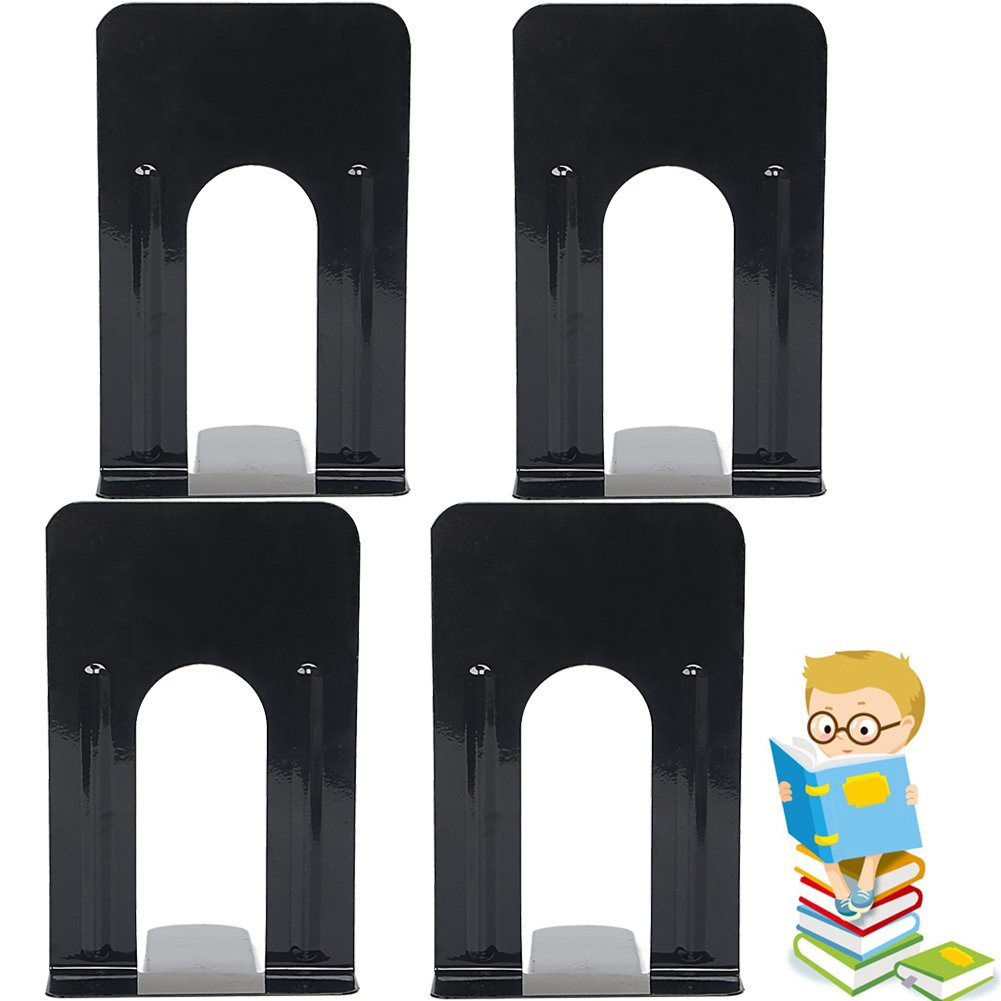 Economy Bookends Universal Black Heavy for Office,9 Inch, Pack of 2 Pairs by Sun Cling,Black