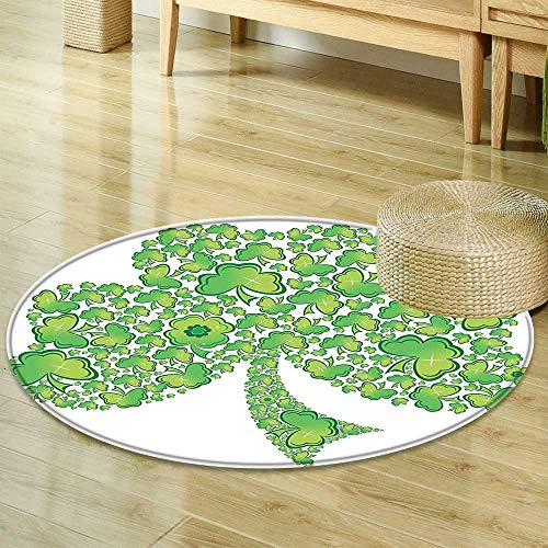 Trinity Patterns (Round Rug Kid Carpet Celtic Decor Collection Irish Shamrock Figure Made with Small Clover Patterns Holy Trinity Symbol Graphic Work Green White Home Decor Foor Carpe R-24)
