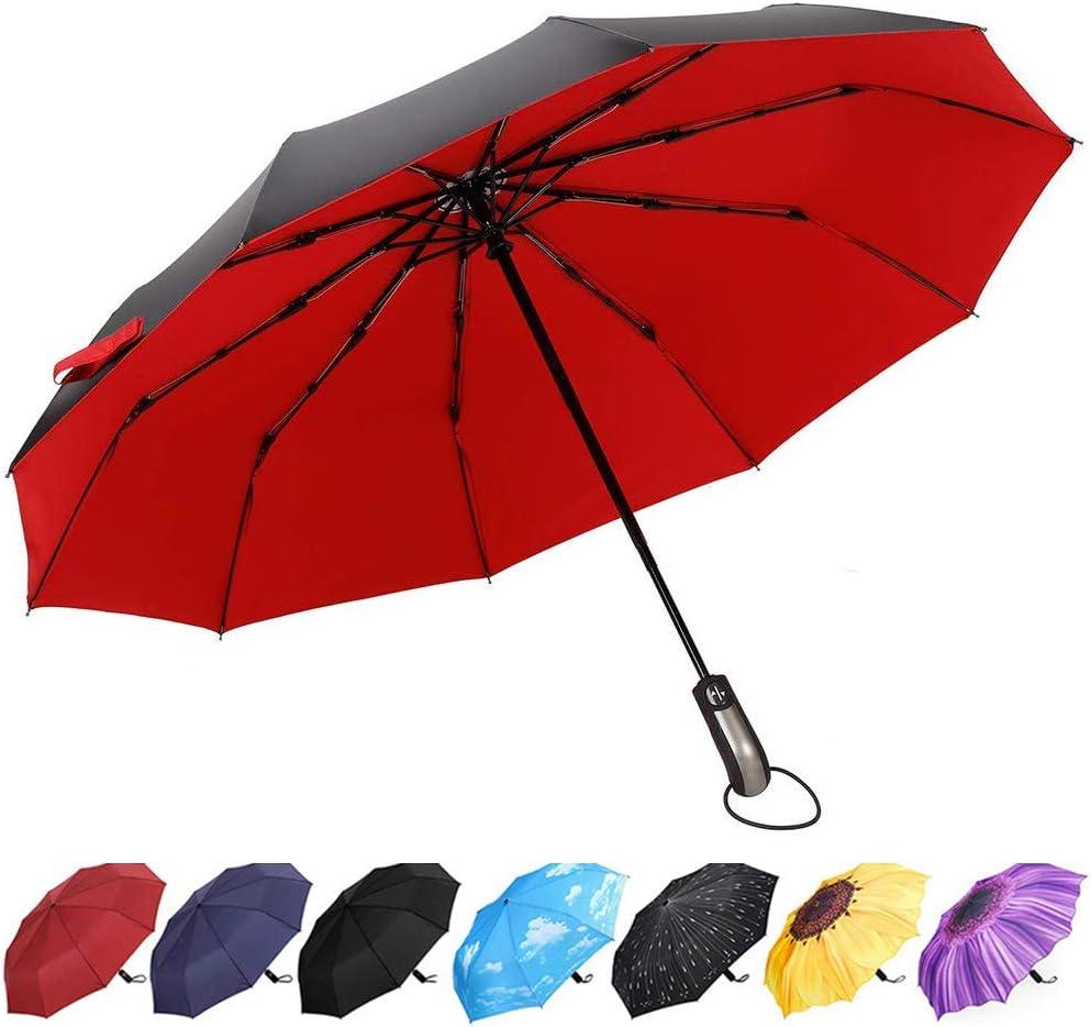 YumSur Paraguas Plegables, Automático a Prueba de Viento y Estable, Grande Paraguas de Viaje Portátil para Mujer Hombre 10 Varillas Rojo