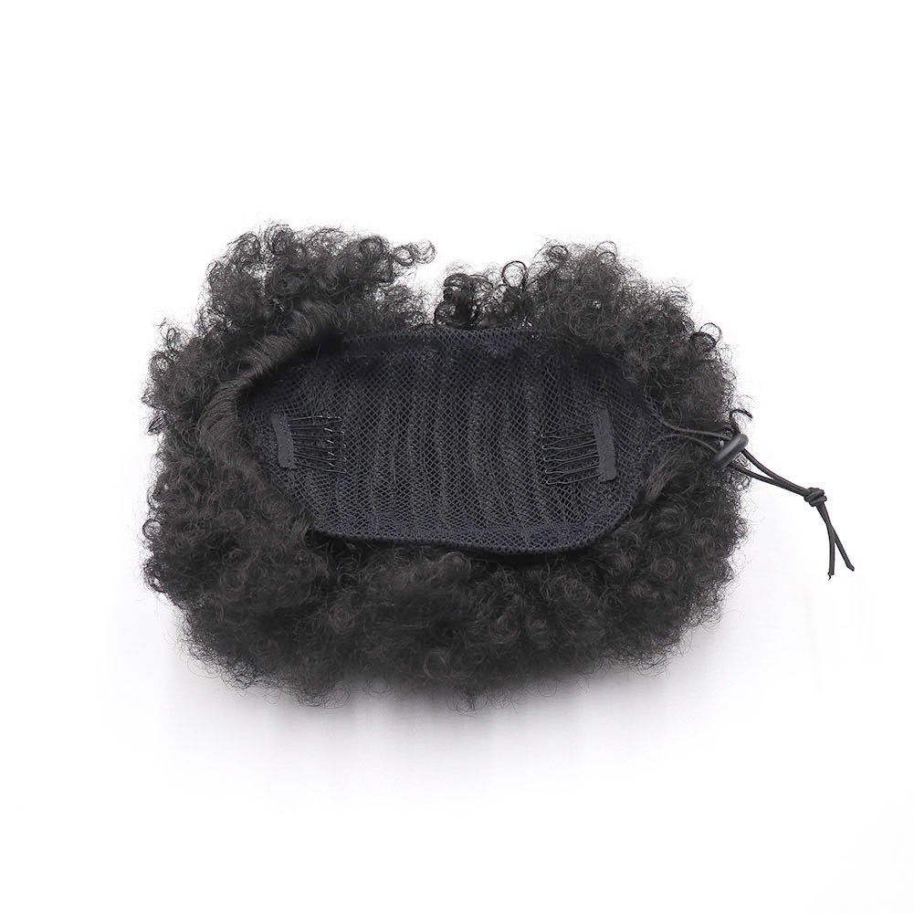 VGTE Beauty Synthetic Curly Hair Ponytail African American Short Afro Kinky Curly Wrap Synthetic Drawstring Puff Ponytail Hair Extensions Wig with Clips(#1B) by VGTE Beauty (Image #4)