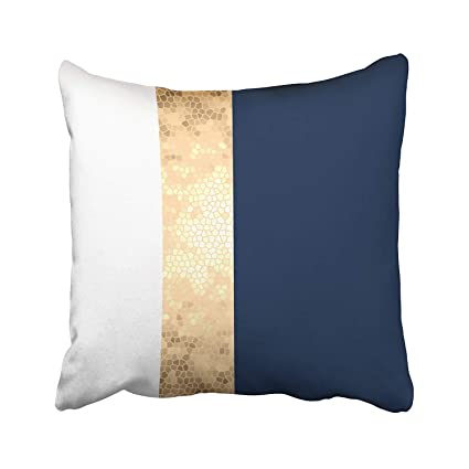 Surprising Elegant Faux Gold Navy Blue White Stripes Accent Cushions Case Throw Pillow Cover For Sofa Home Decorative Pillowslip Gift Ideas Household Pillowcase Andrewgaddart Wooden Chair Designs For Living Room Andrewgaddartcom