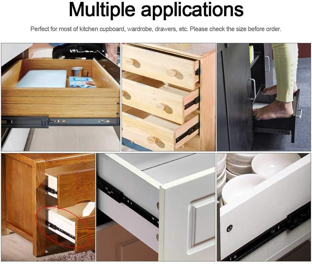 2 UNIDS Mini Diapositivas de Caj/ón Corto Hardware Rodamiento de Bolas Montaje Lateral Muebles Riel de Gu/ía Extensi/ón Completa para Cocina Armario Caj/ón 6 Pulgadas