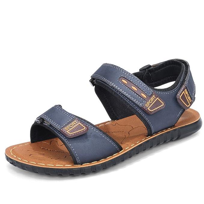 Sandalias de los hombres Sandalias de playa de los hombres Zapatos de cuero genuinos de Split Zapatillas Chanclas Hombres Zapatillas de deporte Zapatos ...