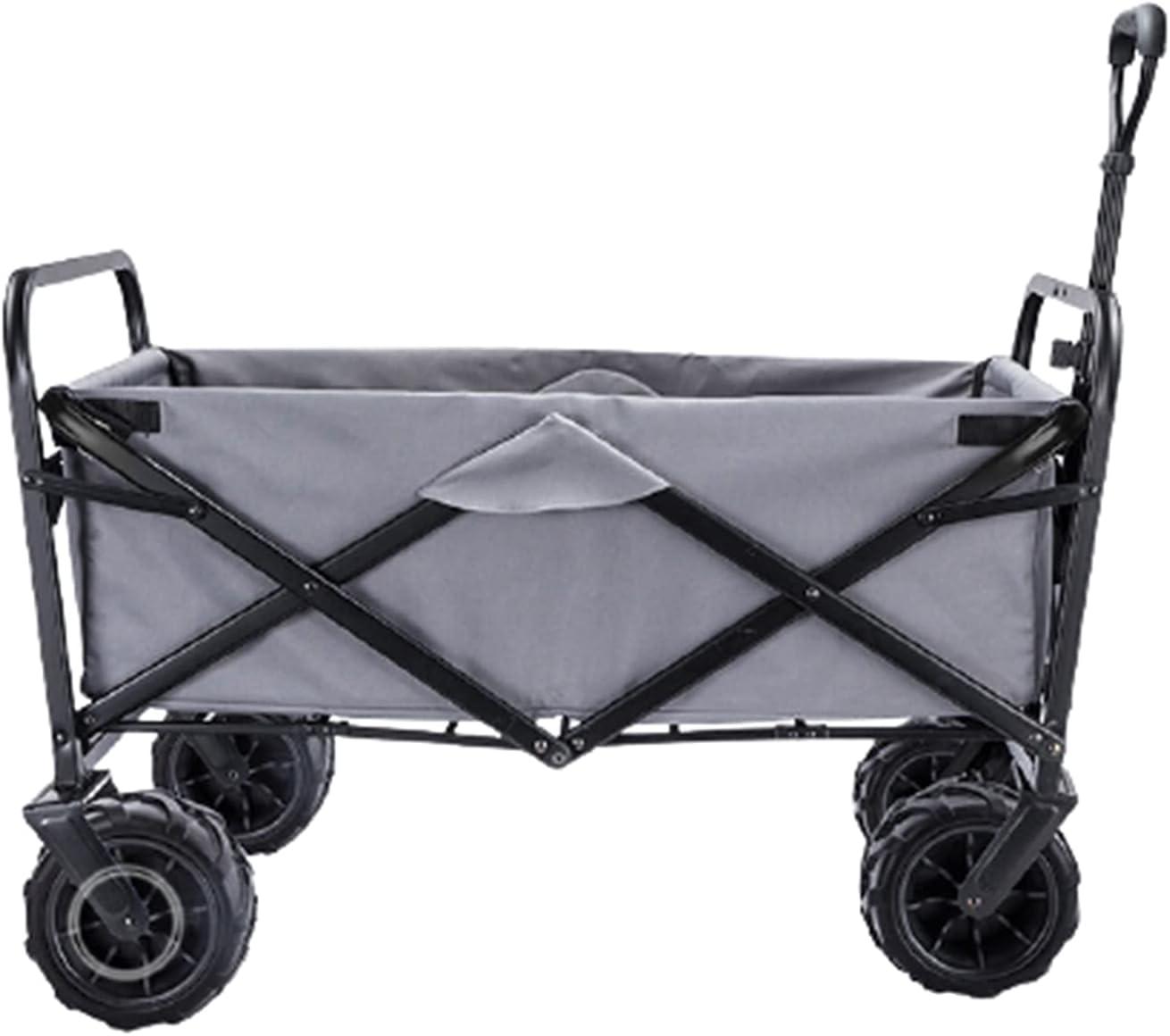 Garden Carts Folding Shopping Trolley Portable Four-Wheeled Trolley Camping Trolley,Gray