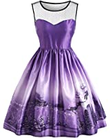 New Fashion Christmas Sled Mesh Panel Dress Women Autumn 1950s Vintage Dresses Feminino Vestidos Sleeveless Midi