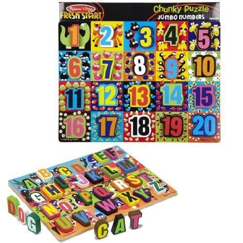 (Melissa & Doug Jumbo Numbers & ABC Wooden Chunky Puzzle)
