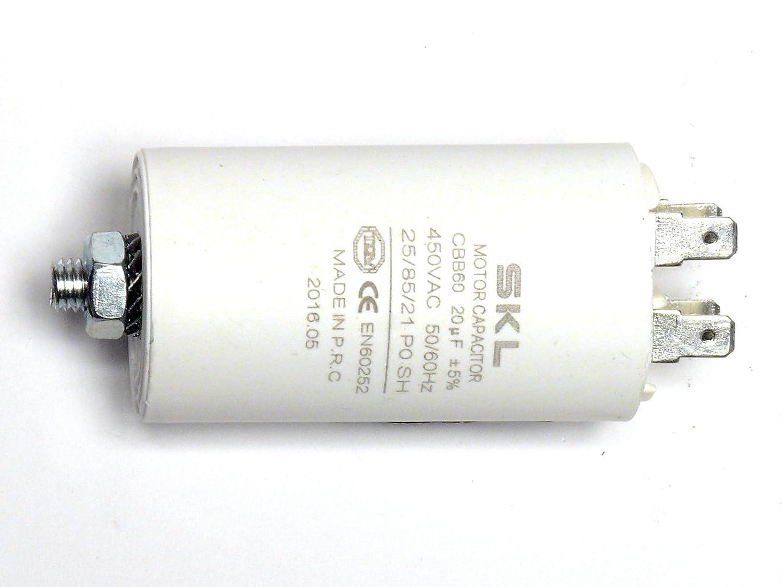 MKP - Kondensator 20uF, Motorkondensator 20,0µF 400/450VAC, verwendbar als Betriebskondensator oder Anlaufkondensator (Anlasskondensator) aus selbstheilender metallisierter Polypropylenfolie im Kunststoffbecher, Anschluß über Flachsteckans