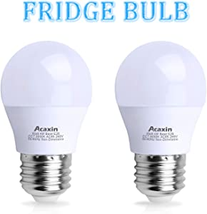 LED Refrigerator Light Bulb 40Watt Equivalent, Acaxin Waterproof Freezer Light Bulb IP54, 120V E26 Daylight White 5000k 400 Lumen, Energy Saving A15 Fridge Bulbs, 2 Pack