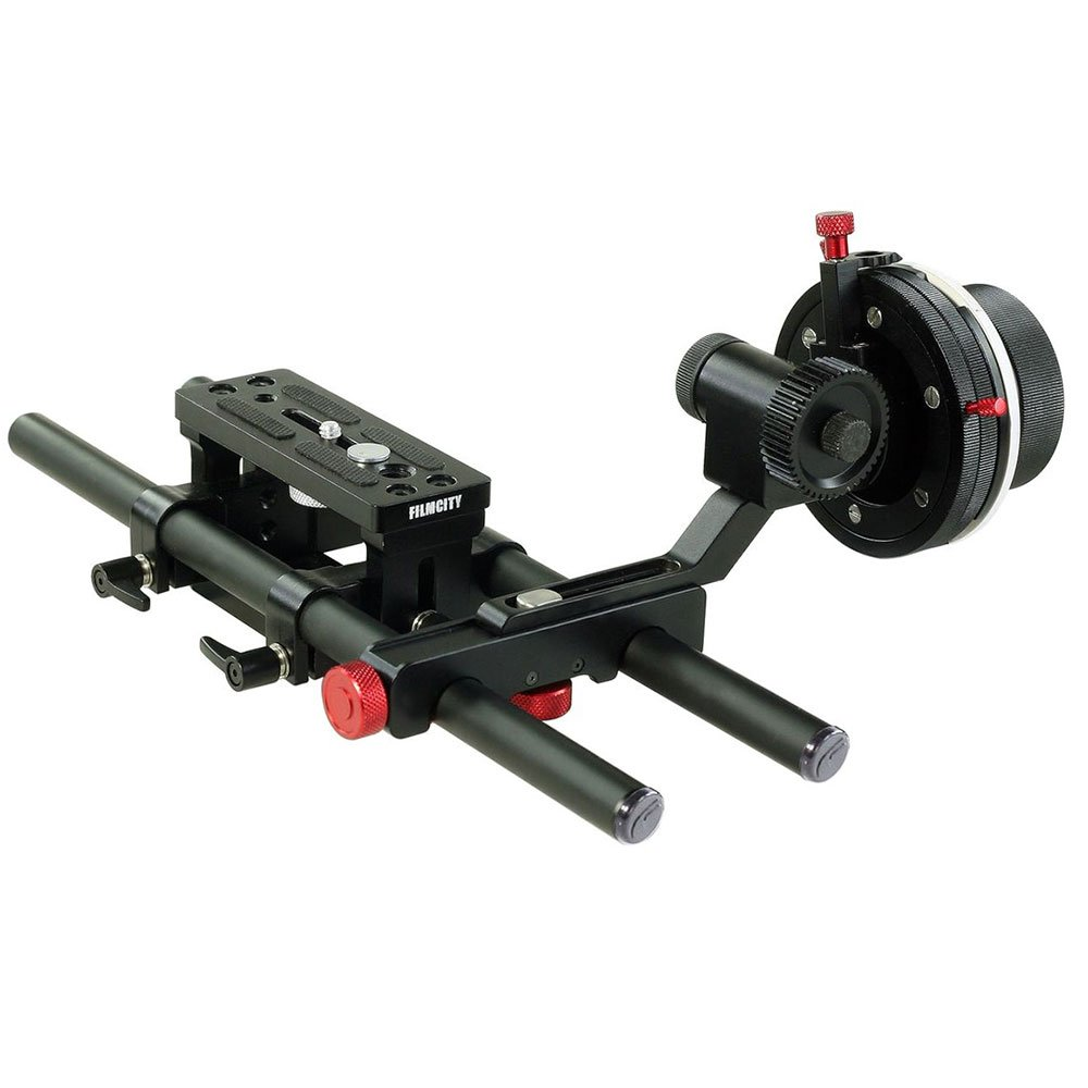 FILMCITY Cheese Base Plate 15mm Rod Rail Support Tripod Mounting + HS-2 Hard Stop Follow Focus System For Video DSLR Camera Camcorder (FC-CB-HS2)