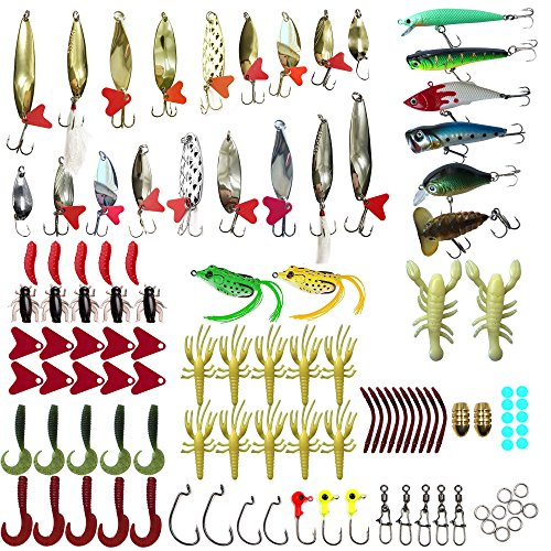 Bluenet-Fishing-Lure-Set-Soft-Plastick-Lures-Spinnerbaits-Artificial-Baits-Diving-Lures-Spoons-with-Hooks-128pcs-Lot