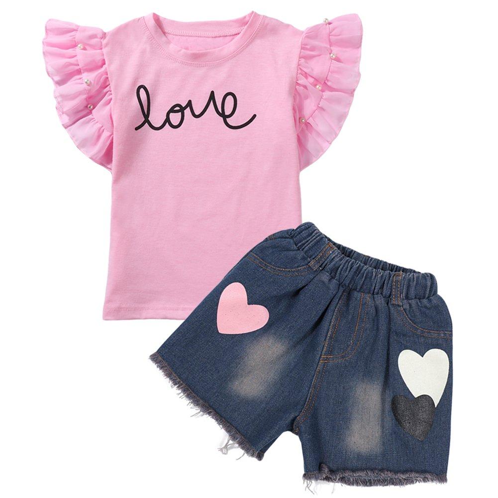 LZH 2Pcs/Set Fashion Toddler Kids Baby Girl Short Sleeve T-Shirt Top+Love Denim Shorts Outfits