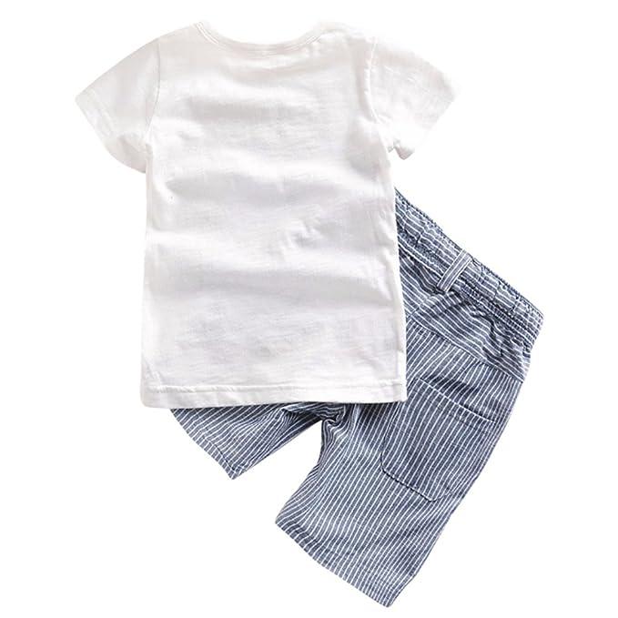 Minuya Ragazzo dei Bambini Signore Estate Risvolto Manica Corta Camicia Pantaloncini Set di Vestiti 2 Pezzi