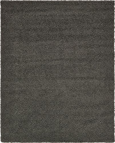 A2Z Rug Cozy Shaggy Collection 8x10-Feet Solid Area Rug - Graphite Gray