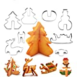 Christmas Stainless Steel 3D Cookie Cutters Set Cookies Molds – 8 piece- Christmas tree, Santa Claus, Sika deer, Skiing.