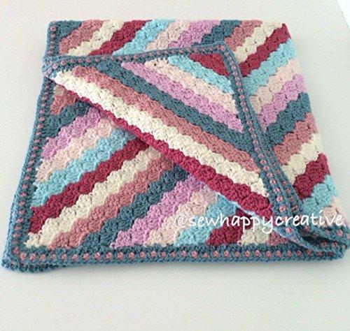 Crochet Baby Blanket, new baby,cot, pram, buggy, car seat, nursery, baby shower gift, christening gift, moses basket crib (Striped Moses Basket)