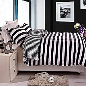NTBAY Black and White Stripe Printed Microfiber Reversible 3 Pieces Queen Size Duvet Cover Set (Queen, Stripe)