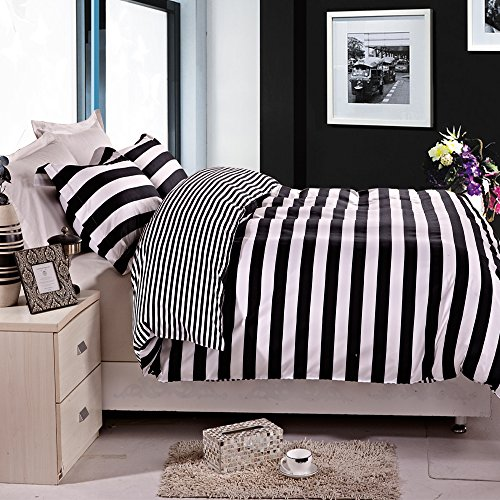 NTBAY 3 Pieces Duvet Cover Set Black and White Stripe Printed Microfiber Reversible Design(Full/Queen, Stripe) (Comforter Black White And Duvet)