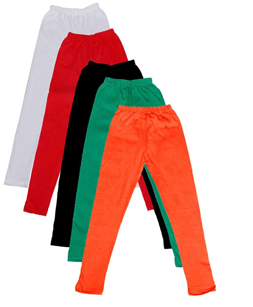 Pack of 5 -Multiple Colors-9-10 Years Indistar Big Girls Cotton Full Ankle Length Solid Leggings