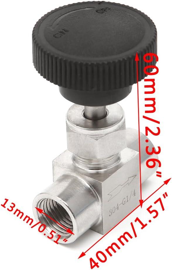 LANDUM 3//81//2 1//41//8 Robinet /à pointeau Filetage Femelle 304 en Acier Inoxydable Contr/ôle de Flux ferm/é 915 PSI