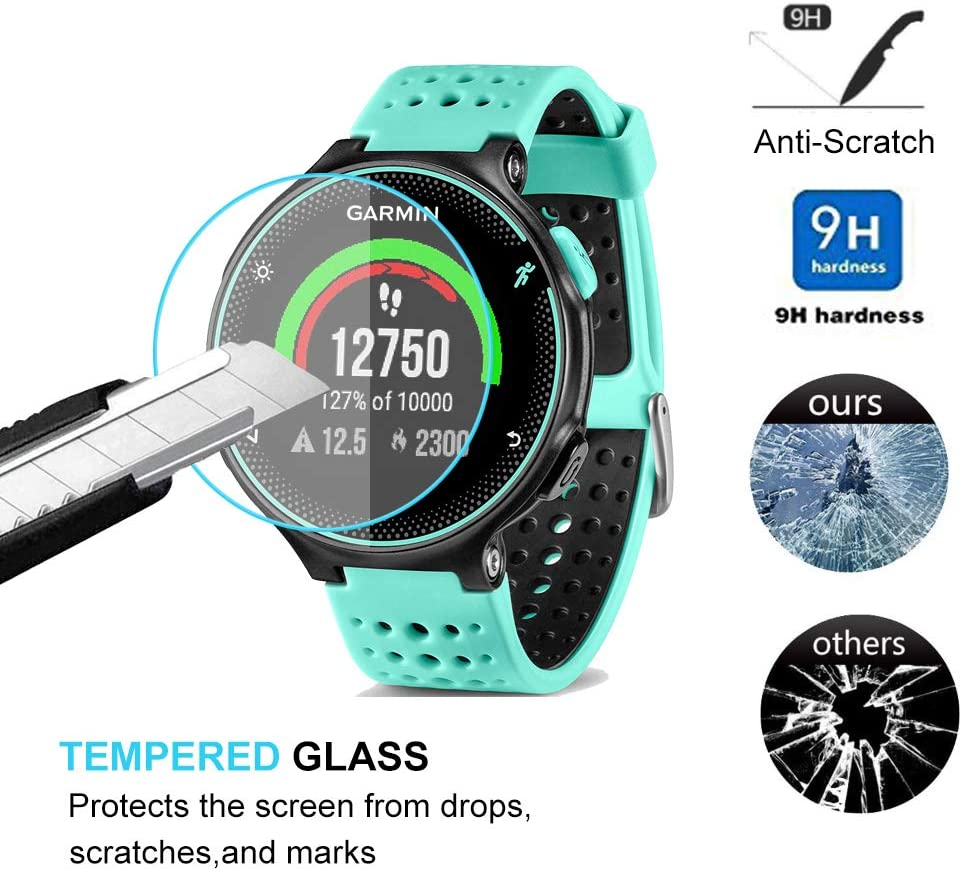 Garmin Forerunner 235 225 630 620 220 230 Screen Protector Glass, Poyiccot Real 0.3mm Premium 2.5D Watch Tempered Glass Screen Protector Glass Film for Garmin Forerunner 235 225 630 620 220 230