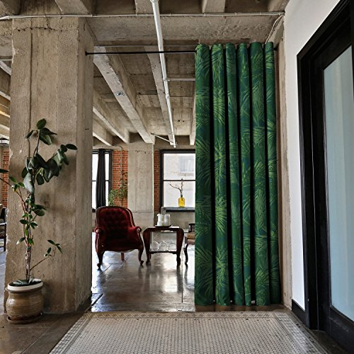 RoomDividersNow Premium Heavyweight Tension Rod Room Divider Kit - X-Large B, 9ft Tall x 9ft 6in - 10ft Wide (The Jungle) - Shoji Multi Panel