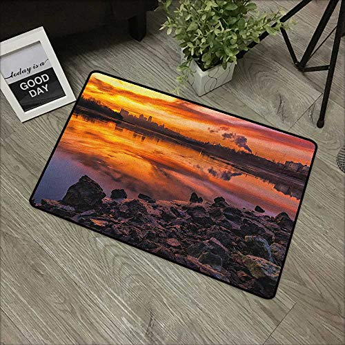 Outdoor door mat W16 x L24 INCH Landscape,Usa Missouri Kansas City Scenery of a Sunset Lake Nature Camping Themed Art Photo, Multicolor Easy to clean, no deformation, no fading Non-slip - Kansas Carpet Tiles City