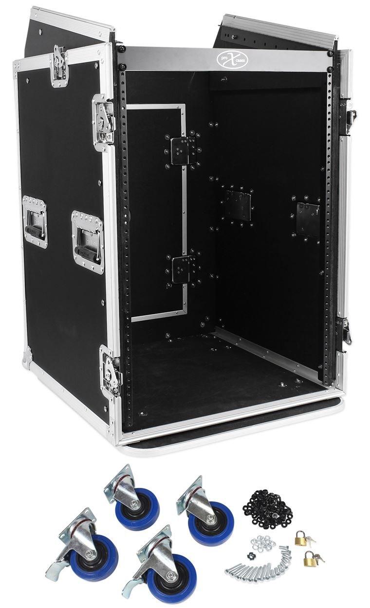 Pro X TOV T-16MRSS 16U Straight +10U Slanted DJ Rack Flight Case w/Wheels 3/8''