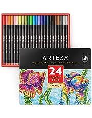 Arteza Inkonic fineliners, Fijnschrijvers met een punt van 0,4 mm, Set van 24 gekleurde fineliners, op waterbasis, niet-toxisch, Tekenstiften, ook geschikt voor mixed-media-technieken