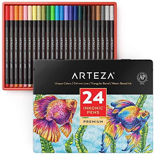 ARTEZA Inkonic Fineliners Fine Point Pens, Set of 24 Fine Tip Markers with Color Numbers, 0.4mm Tips, Ergonomic Barrels, Brilliant Assorted Colors for Coloring, Drawing & Detailing