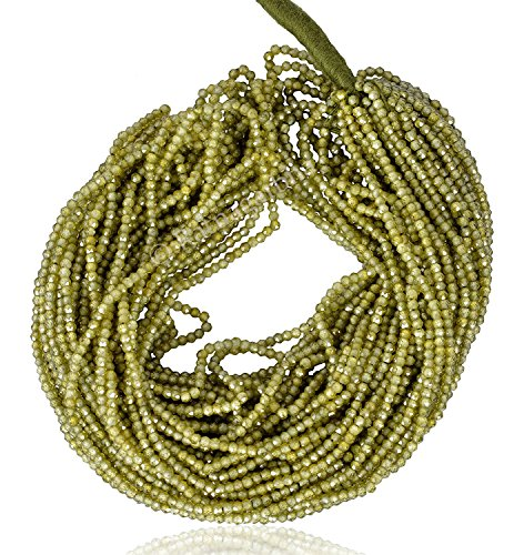 Ratnagarbha Green Color Zircon Micro Faceted rondelle Loose Gemstone Beads Strand, Cubic Zirconia, Olive Green cz Beads, Wholesale Price, Prepared Exclusively by ()