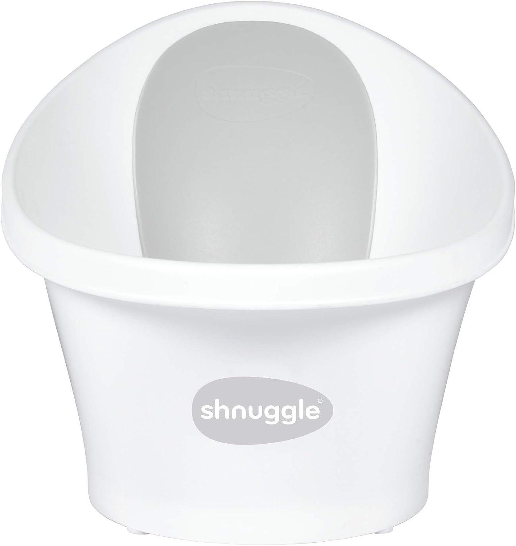 Shnuggle - Bañera para bebé de hasta 12 meses con tapón en la parte inferior, color blanco con respaldo gris, 1,2 kg