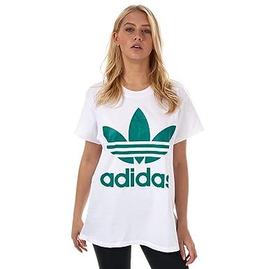 e5885a8ad4e Image Unavailable. Image not available for. Color: adidas Originals Women's  Big Trefoil Tshirt Sub 3 White