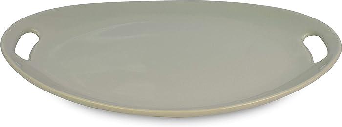 "Le Regalo HW1238 Stoneware Oval, Microwave Oven, Dishwasher Safe, Food Platter, Kitchen Serveware, 13.50""x9.50"", Off-White"