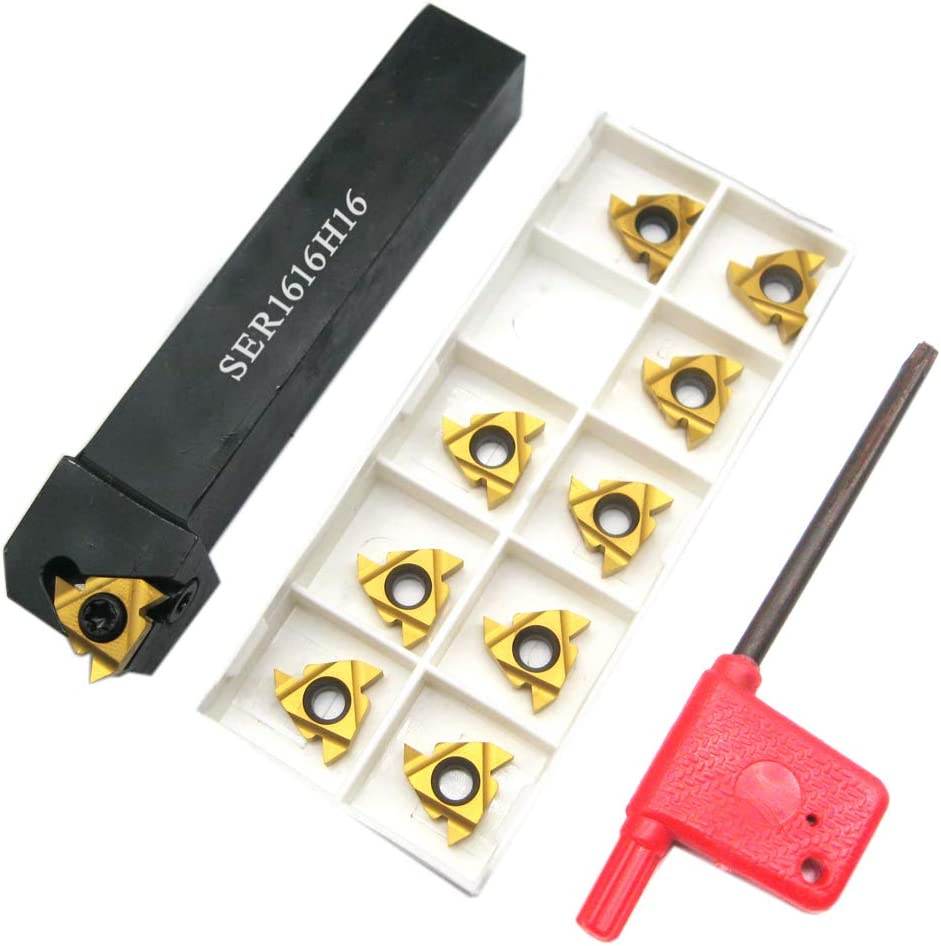 3PCS SER1616H16 Holder Lathe Turning Threading Tool 16ER AG60 Blade
