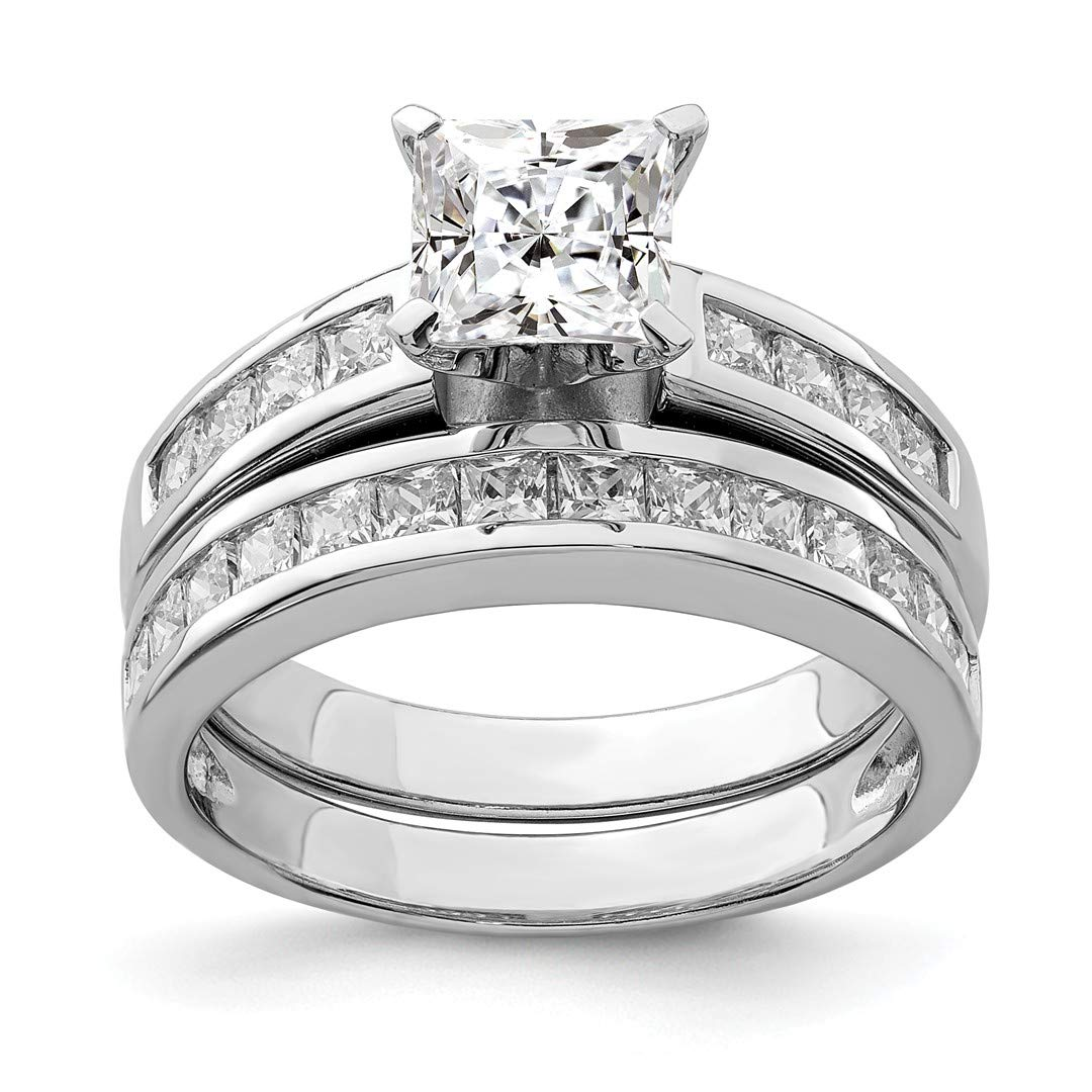 ICE CARATS 925 Sterling Silver 2 Piece Cubic Zirconia Cz Size 6 Wedding Set Band Ring Engagement Fine Jewelry Ideal Gifts For Women Gift Set From Heart