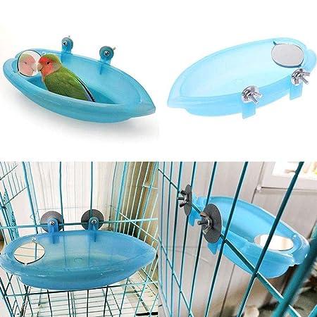 Uteruik - Jaula de baño para pájaros con Espejo, Juguete para ...