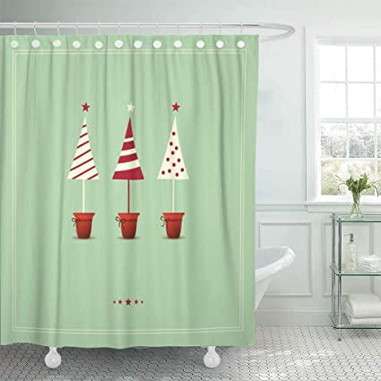 Emvency Waterproof Fabric Shower Curtain Hooks Green Star Christmas Holiday Advent Vintage Feast Creative Extra Long