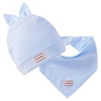 4be27b205 Amazon.com : Wcysin Baby Cotton Cap and Bib Set Cute Infant Cap and ...