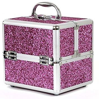 Bucasi CB15324 Girls Teenagers Pink Sparkle Aluminum Makeup Train Case Organize Makeup Jewelry Nail Polish