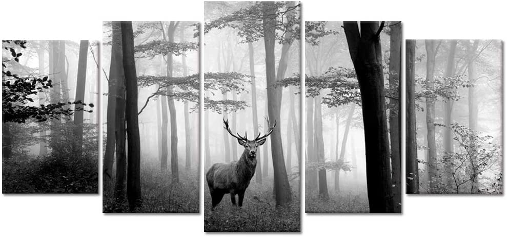 Welmeco 5 Pieces Animals Wall Decor Black and White Deer in Autumn Forest Canvas Prints Artwork for Home Office Nature Scenery Living Room Bedroom Decoration