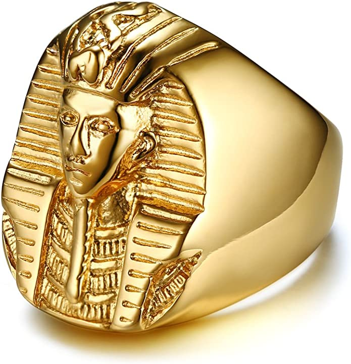 Gold Tone Size 7 or 8 King Tut Egyptian Ring Famous Boy King of Egypt