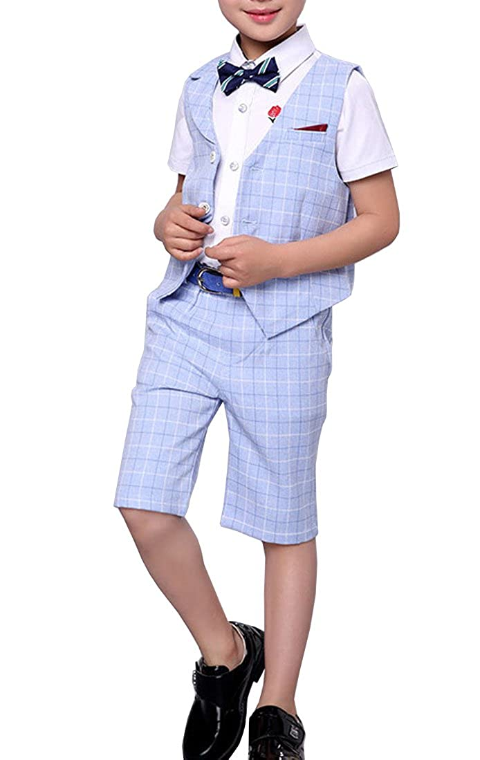 559a6e737f Boys Summer Suit Set 3 Pieces Shirt Vest and Shorts Set Blue Gray and Pink
