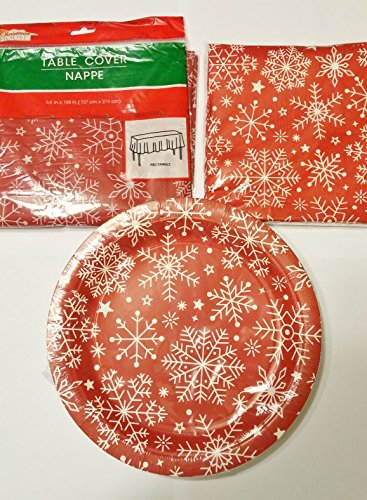Snowflake Red Party Plate, Napkin, & Table Cover Set -
