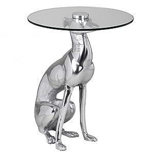 Wohnling Design Deko Beistelltisch Figur Dog aus Aluminium Farbe Silber Mesa Auxiliar, Metal, Plata, 40 x 40 x 50 cm
